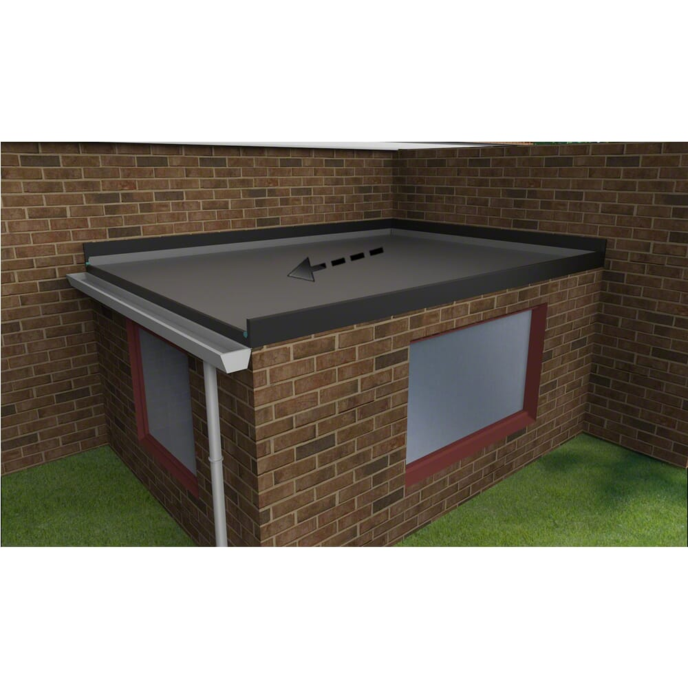 EPDM Flat Roof Extension Kit - Falls to the Left with House wall on 2 Sides